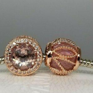 Rose Gold Intertwining heart 2 Charms NEW  PANDORA